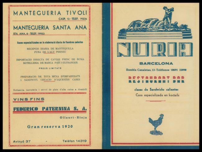 Carta del Nuria en 1.940.