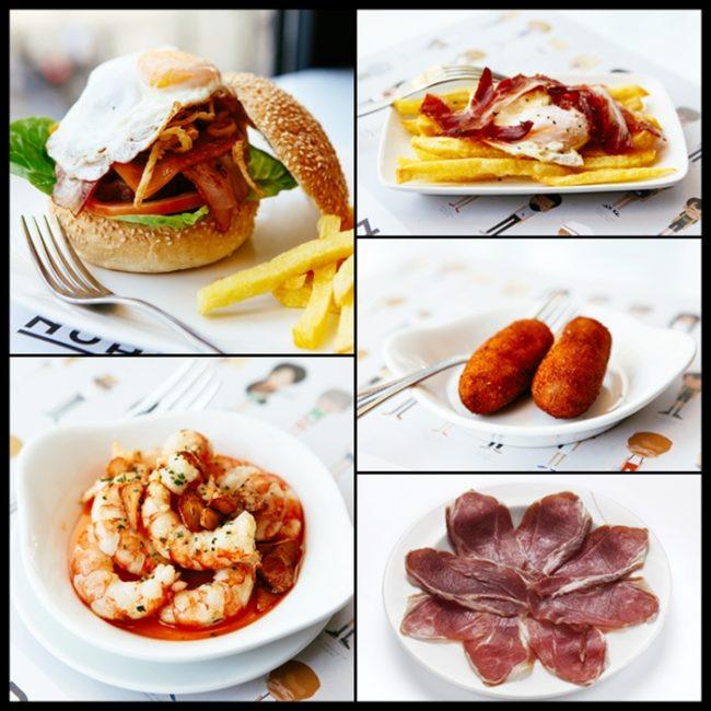Hamburguesa, gambas al ajillo, huevos fritos con jamón, croquetas, jamón.