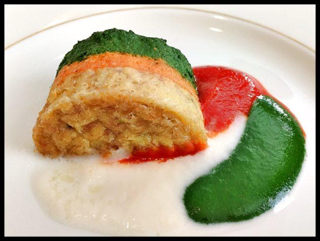 Pudding de verduras con sus coulis