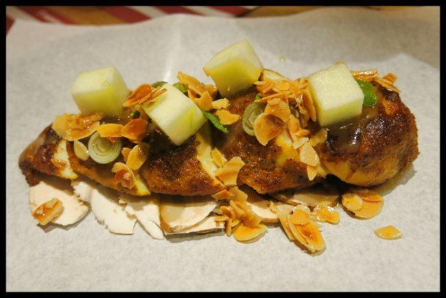 Canelón de pollo de corral, bueno, y foie
