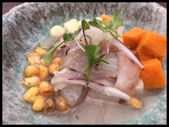 Ceviche de pescado, converduras, garbanzos y maíz
