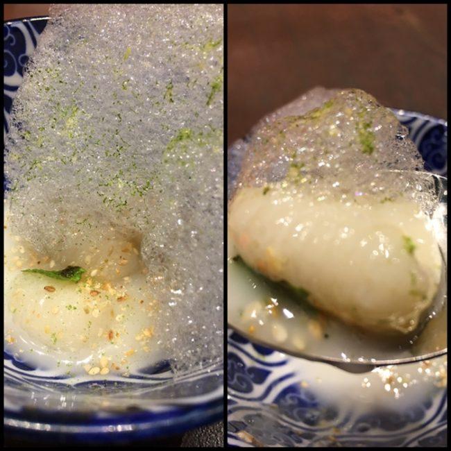 Ñoquis de coco con té matcha y lima