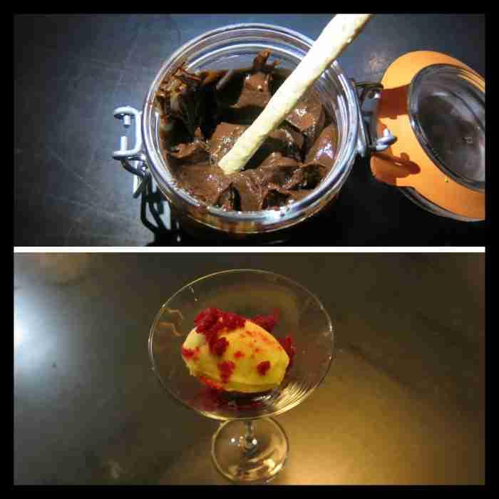 Postres- Granizado de Frambuesa con helado y Crema de cacao con avellanas tostadas.